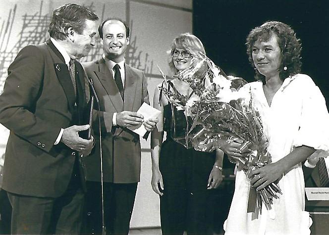 Siegbert Metelko - Leopold Guggenberger und der Bachmannpreisträgerin Friederike Roth im Jahr 1983