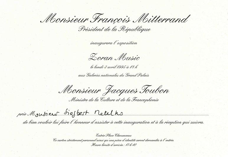 Zoran Music und Francois Mitterand Einladung
