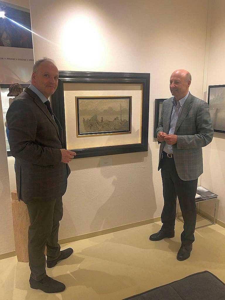 Siegbert Metelko und Galerist Kraut auf der Kunstmesse Salzburg 2019